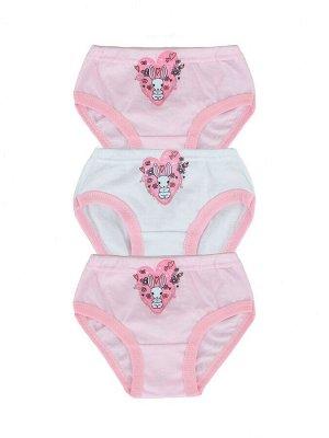 Трусы 3шт Рисунок может отличаться Трусы, бледно-розовый,белый 95%хлопок,5%полиамид
