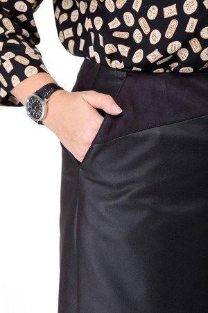 Юбка миди Рост: 164 см. Состав ткани: полиэстер – 100% Юбка женская, комбинированная, А-силуэта, выполнена из эко кожи и искусственной замши. Юбка средней посадки, с запахом. Кокетка из отделочной тка
