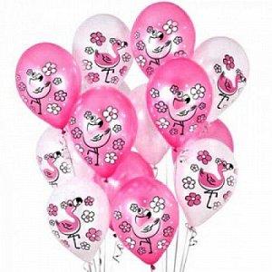 """Воздушный шар латексный с рисунком 12"""" пастель ассорти """"розовый фламинго"""""""