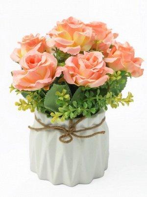 """Цветок в горшке """"Rose Lee"""" Floox, 10х10х21 см, цв.розовый, комбинированные материалы"""