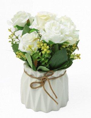 """Цветок в горшке """"Rose Lee"""" Floox, 10х10х21 см, цв.белый, комбинированные материалы"""