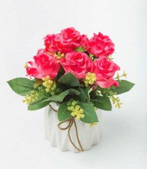 """Цветок в горшке """"Rose Lee"""" Floox, 10х10х21 см, цв.фуксия, комбинированные материалы"""