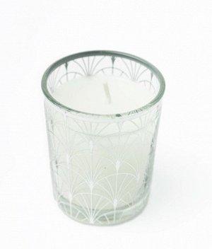Свеча Dunglass Floox, 5,5х5,5х6,5 см, цв.серый, комб.мат-лы, вес 65 гр, в стеклянном стакане