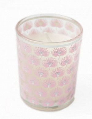 Свеча Dunglass Floox, 5,5х5,5х6,5 см,цв.розовый, комб.мат-лы, вес 65 гр, в стеклянном стакане