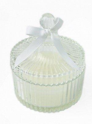 """Свеча ароматизированная Beal Floox, 10,5х10,5х12 см, цв.белый, комб.мат-лы, вес 190 гр, аромат """"белый цветок"""", в стеклянной шкатулке с крышкой"""