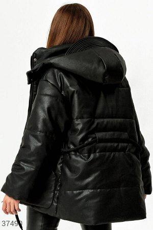 Утепленная куртка из фактурной кожи