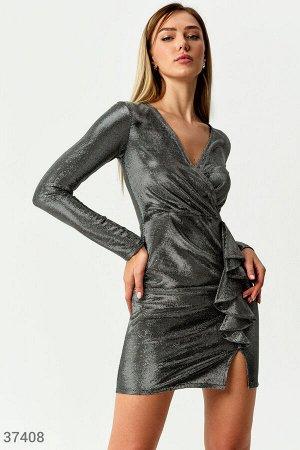 Блестящее платье с драпировкой