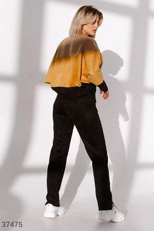 Замшевые брюки прямого кроя