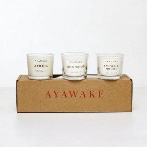 Подарочный набор ароматических свечей №3 (АФРИКА, УДОВОЕ ДЕРЕВО,ЛАВАНДОВЫЙ МУСС)