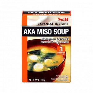 Суп S&B ака-мисо быстрого приготовления 3 порции, 30г, к/к