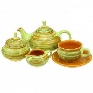 """""""Витаминка"""" Сервиз чайный керамический """"Орнамент"""" чашка чайная с блюдцем 250мл- 6шт, чайник заварочный """"Кроха средний"""" 700мл, сахарница 500мл, сливочник 300мл (Россия)"""