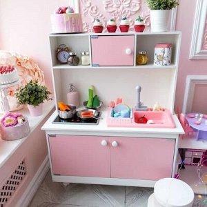 Игровая мебель «Детская кухня» малиновая интерактивная панель, раковина с водой