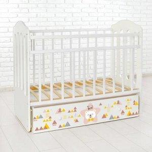 Детская кроватка «Мишка» на маятнике, с ящиком, цвет белый