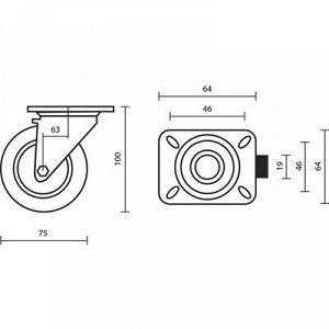 Колесо мебельное, d=75 мм, на площадке, с футоркой, серое