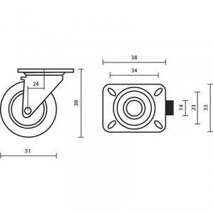 Колесо мебельное, d=30 мм, на площадке, белое