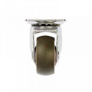 Колесо мебельное, d=38 мм, без тормоза, мягкий ход, коричневое