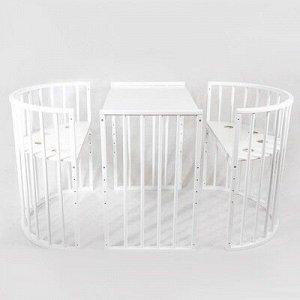 """Кровать-трансформер """"Лёвушка"""" 7в1, белый глянец, круглая / овальная"""
