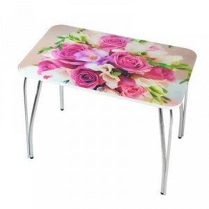 Стол прямоугольный с фотопечатью Букет 1000х600х757 столешница стеклянная