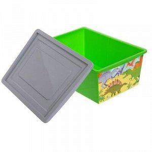 Ящик универсальный для хранения с крышкой «Дино», объём 30 л, цвет салатовый