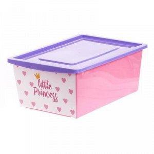 Ящик универсальный для хранения с крышкой «Принцесса», объём 30 л, цвет розовый