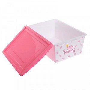 Ящик универсальный для хранения с крышкой «Принцесса», объём 30 л, цвет белый