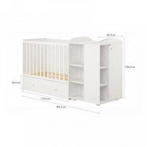 Кроватка-трансформер детская Polini kids Ameli 800, с комодом, белый