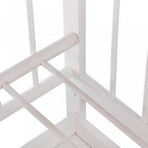 Детская кроватка «Женечка-4» на колёсах или качалке, с ящиком, цвет белый