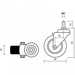 Колесо мебельное, d=38 мм, с футоркой М8, красное