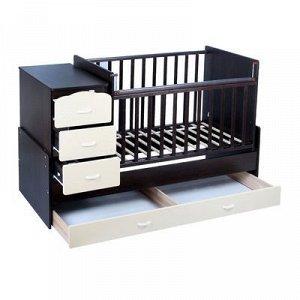 Детская кровать-трансформер СКВ-9 «Птички» на маятнике, цвет венге/бежевый