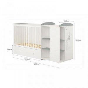 Кроватка-трансформер детская Polini kids French 800, Amis, с комодом, белый-серый