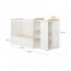 Кроватка-трансформер детская Polini kids French 800, Teddy, с комодом, белый-дуб пастельный