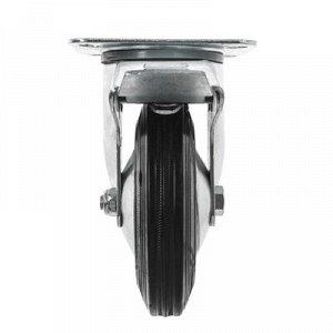 Колесо для тележек поворотное с тормозом, d=160, резина