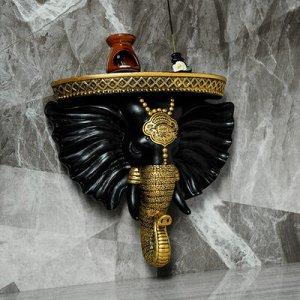 """Консоль """"Индийский Слон"""", чёрный,золото 40x 38 см"""