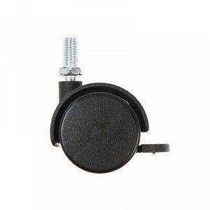 Колесо мебельное, d=40 мм, со штырем , с тормозом, черный