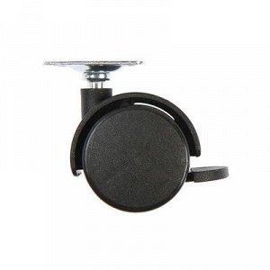 Колесо мебельное, d=40 мм, с площадкой, с тормозом, черный