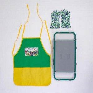 Скамейка-Перевертыш садовая складная зелёная, с фартуком садовым и перчатками