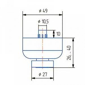 Опора регулируемая, Н=25 мм, вн. шестигран., цвет матовый хром