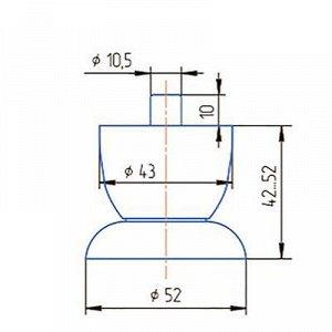 Опора регулируемая, Н=40 мм, цвет матовый хром