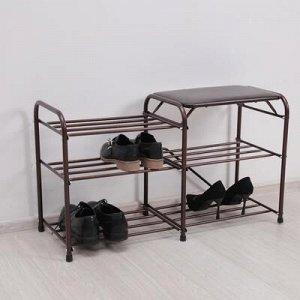 Подставка для обуви с сиденьем «Дубль», 3 полки, цвет медный антик