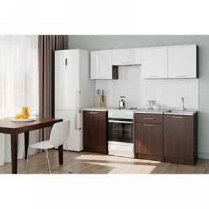 Кухонный гарнитур Адель 2100, 2100х600х2000, Венге/Белый глянец