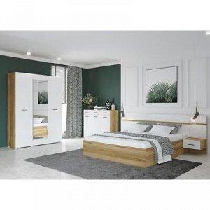 Тумба прикроватная к кровати Ненси. 400x900x440, Дуб золотой/Белый глянец