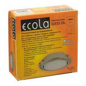 Светильник встраиваемый Ecola, GX53, 28x93, для твердых поверхностей и мебели, сатин-хром