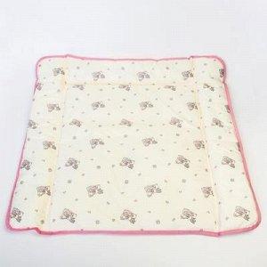 Матрасик на пеленальный комод, 750х670, розовый МИКС