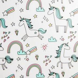 Доска пеленальная Polini Kids Единорог Радуга, для детских кроватей, голубой