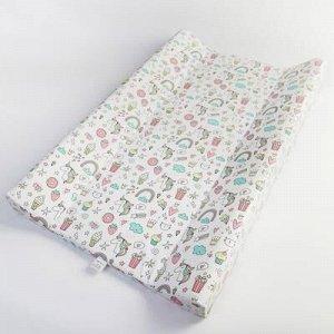 Доска пеленальная Polini Kids Единорог Сладости, для детских кроватей, розовый