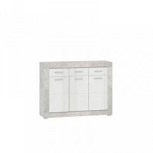Комод Монтана КД120, 1170х373х880, Atelier/Белый глянец