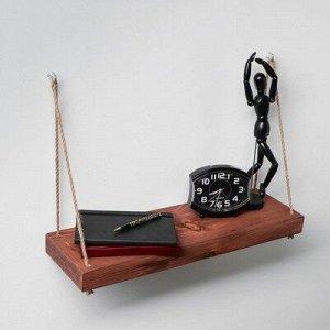 """Полка деревянная """"Элегант"""", цвет коричневый, веревка, 64 х 19 х 4,5 см"""