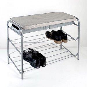Этажерка для обуви с сиденьем (ЭТП3/С), 2 полки, 79?33?52,2 см, цвет серый