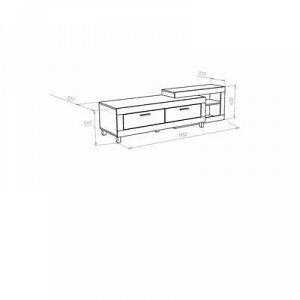 Тумба под ТВ Генезис, 1950х523х520, Дуб серый крафт/Белый глянец