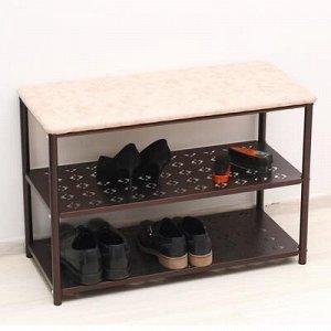 Банкетка для обуви «Принт», 3 яруса, 76?34?52 см, цвет медный антик